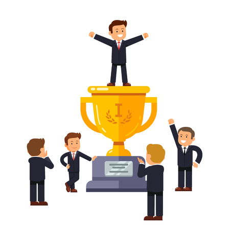 applauding: Leader standing on big winner golden cup pedestal spreading his hands in triumph gesture. Business crowd applauding supporting and praising man at the top. Modern flat style vector illustration.