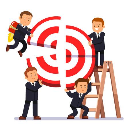 Biznesmen budowania zespołu celem. Ludzie biznesu pracują razem, podnosząc bloki celu, tworząc wspólny cel. Koncepcja pracy zespołowej. Nowożytna mieszkanie stylu wektoru ilustracja odizolowywająca na białym tle.