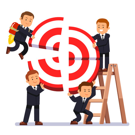 common goal: Businessman team building aim. Business people working together lifting target blocks to form a common goal. Teamwork concept. Modern flat style vector illustration isolated on white background.