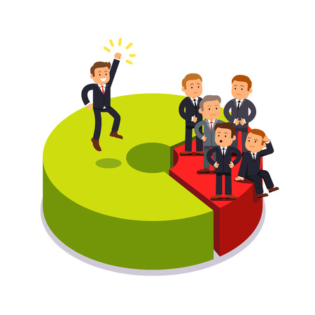 Monopolist owning 80 percent share of market. Business competition concept. Businessman standing on proportion chart sectors. Modern flat style vector illustration isolated on white background.