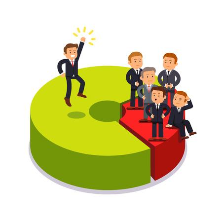 Monopolist détenant 80 pour cent des parts de marché. concept de concurrence entre les entreprises. Homme d'affaires debout sur les secteurs proportion de tableau. Moderne illustration vectorielle de style plat isolé sur fond blanc. Vecteurs