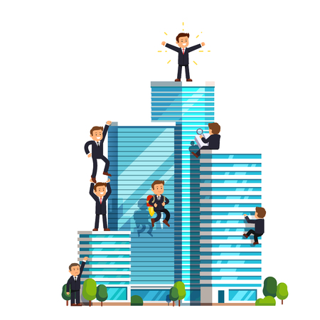 neighbourhood: Business ascension competition in achieving success. Little businessman climbing high wall street skyscrapers to reach the top and win. Flat style vector illustration isolated on white background.