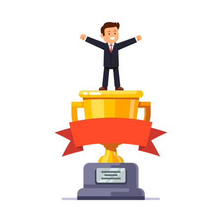 white achievement: Business leader standing on big winner golden cup pedestal spreading his hands in triumph gesture celebrating achievement. Modern flat style vector illustration isolated on white background. Illustration