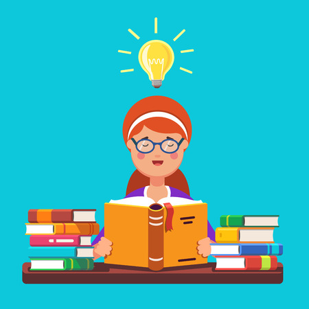 student book: Young red hair girl student wearing glasses reading a book holding it in her hands having bright idea insight. Sitting at the desk with piles of books. Flat style modern vector illustration.