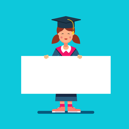 graduating seniors: Graduate student girl in mortar board hat standing and holding big white space placard banner. Flat style modern vector illustration.