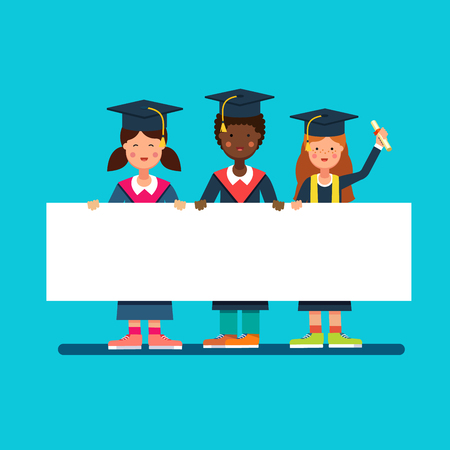Graduate students girls and boy in mortar board hats standing and holding big white space placard banner together. Flat style modern vector illustration.