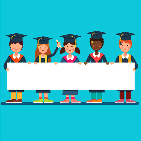 Multicultural group of graduate students girls and boys in mortar board hats standing and holding big white space placard banner together. Flat style modern vector illustration. Illustration