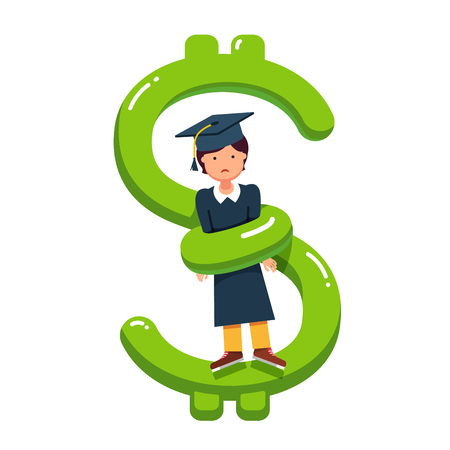 excessive: Graduate student girl in mortar board hat squeezed by big snake looking dollar money sign. Excessive education debt price metaphor. Flat style modern vector illustration isolated on white background.