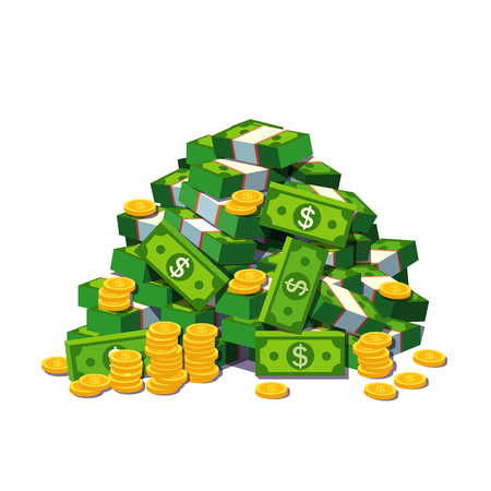 Big pile of cash money and some gold coins. Heap of packed dollar bills. Flat style modern vector illustration isolated on white background. Imagens - 67654500