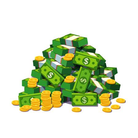 Duży stos pieniędzy gotówkowych i niektórych złotych monet. Heap zapakowanych banknotów dolarowych. Płaski styl nowoczesnych ilustracji wektorowych samodzielnie na białym tle. Ilustracje wektorowe