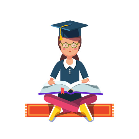 student book: Graduate student girl in mortar board hat sitting in lotus pose on a red carpet and reading a big book. Flat style modern vector illustration isolated on white background.