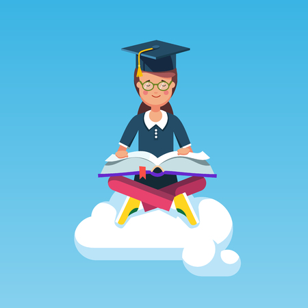 student book: Graduate student girl in mortar board hat sitting in lotus pose on a white cloud in the sky and reading a big book. Flat style modern vector illustration isolated on white background.