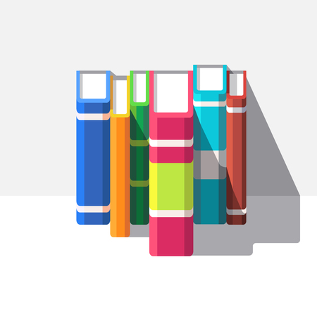 shelve: Books standing o a white shelve. Flat style modern vector illustration isolated on white background.