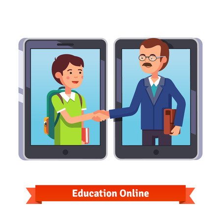 Educación en línea. Alumno y el profesor hablando a través de video conferencia telefónica con tabletas o teléfonos inteligentes. Dar la mano con el profesor a través de Internet. ilustración vectorial de estilo plano aislado en blanco.