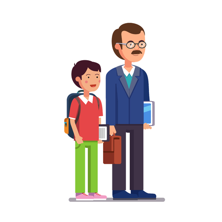 father and child: Father professor or school teacher standing with his son or student. Both holding tablet computers and smiling. Flat style modern vector illustration isolated on white background.