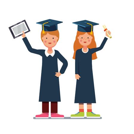 Afgestudeerde studenten jongen en meisje in toga en mortel planken staan met diploma en tablet computers. Vlakke stijl moderne vector illustratie op een witte achtergrond.