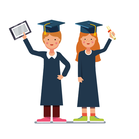 Graduated students boy and girl in gowns and mortar boards standing with diploma and tablet computers. Flat style modern vector illustration isolated on white background. Illustration
