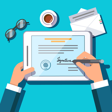 Business man writing an electronic signature on a document or contract on tablet computer screen with a stylus pen. Modern paperwork signing. Flat style modern vector illustration.