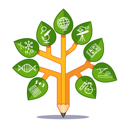 Sciences education tree stylized as pencil with scientific disciplines icons on its leafs. Flat style modern vector illustration isolated on white background.