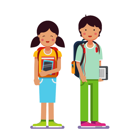 child holding sign: Brother and sister school or collage students standing together wearing backpacks holding books, textbooks and tablet computers. Flat style modern vector illustration isolated on white background.