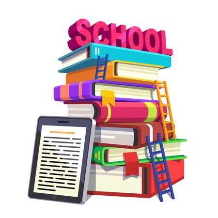 books isolated: Modern school education and knowledge concept. Huge tower of books with ladders accompanied by tablet computer or e-reader. Flat style modern vector illustration isolated on white background. Illustration