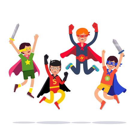 improvised: Team of young superhero boys. Kids playing cosplay with improvised costumes, capes and masks pretending to be super humans. Flat style vector illustration isolated on white background. Illustration