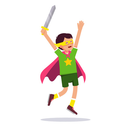 improvised: Young superhero boy. Kid playing cosplay with his improvised costume, cape, sword and mask pretending to be super hero star knight. Flat style modern vector illustration isolated on white background.