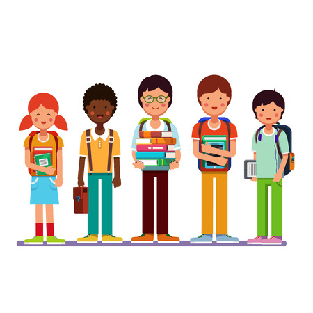 Multi ethnic group of school students kids standing together wearing backpacks holding books, textbooks and tablet computers. Happy pupils and friends. Flat style modern vector illustration. Illustration