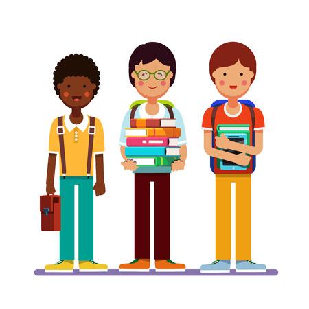 School of universiteit jongens tieners staan samen dragen rugzakken bedrijf boeken, studieboeken en tablet computers. Kids vriendschap. Vlakke stijl moderne vector illustratie op een witte achtergrond.