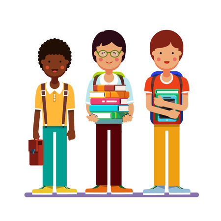 undergraduate: School or college boys teenagers standing together wearing backpacks holding books, textbooks and tablet computers. Kids friendship. Flat style modern vector illustration isolated on white background.