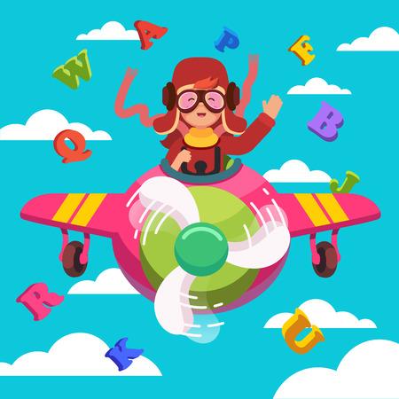 Sourire heureux gosse avion volant comme un vrai pilote en cuir rétro casque de vol, un foulard et des lunettes. Apprendre l'alphabet et rêvant de profession aviateur. le style plat vecteur moderne illustration. Vecteurs