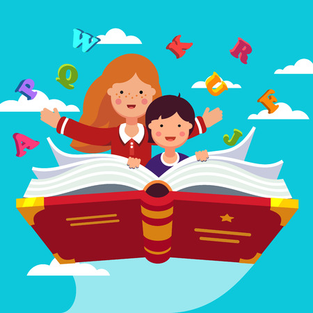 Boy and girl student and preschooler flying in the sky together on a magical primer ABC book. Knowledge power concept. Flat style modern vector illustration. Illustration