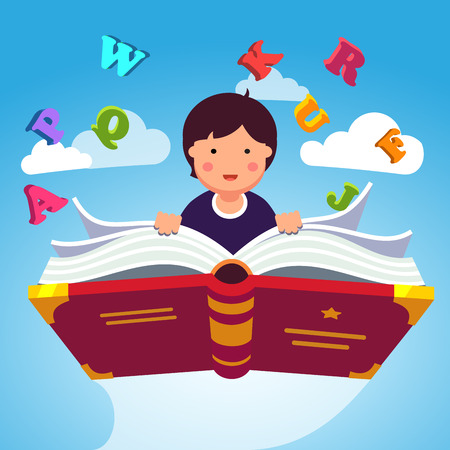 child holding sign: Boy student or preschooler flying in the sky on a magical primer ABC book. Knowledge power concept. Flat style modern vector illustration. Illustration