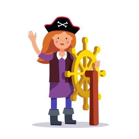 skull and crossed bones: Kids pirate girl captain standing at the helm. Steering wheel. Flat style modern vector illustration isolated on white background. Illustration
