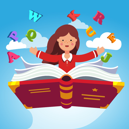 Girl student or preschooler flying in the sky on a magical primer ABC book. Knowledge power concept. Flat style modern vector illustration.