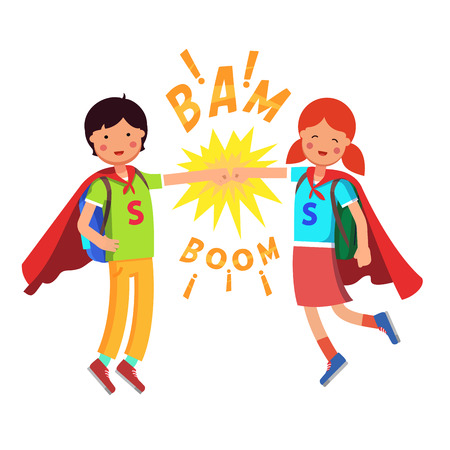 Heroes Super School Students kids making fist bump. Boy and girl flying with their capes and full backpacks. Flat style modern vector illustration isolated on white background. Illustration