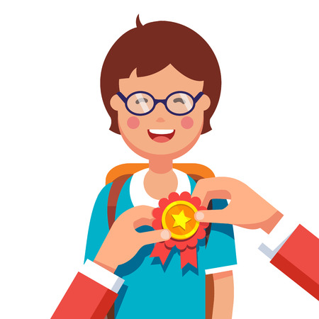 pinning: Student boy being awarded for a win at school fair. Hands pinning ribbon award to a kids chest. Flat style modern vector illustration isolated on white background.
