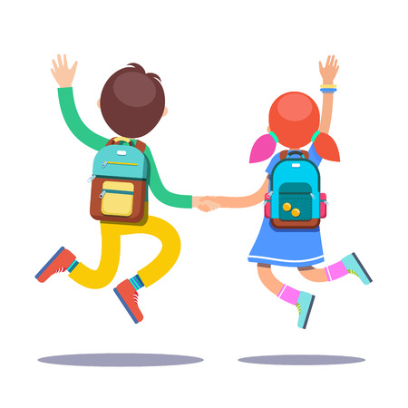 first grader: Boy and girl students with backpacks holding hands jumping on a way to school. Flat style modern vector illustration isolated on white background. Illustration