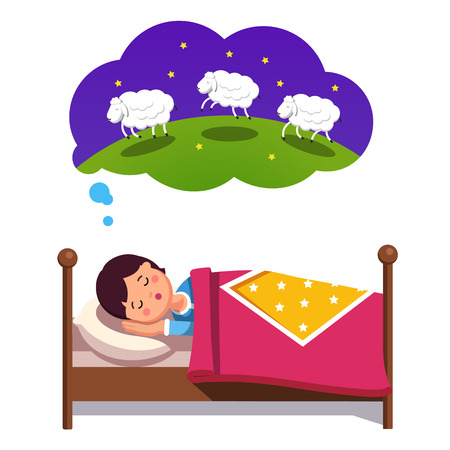 Teen boy trying to sleep in his bed counting jumping sheep. Fighting insomnia concept. Flat style modern vector illustration isolated on white background.