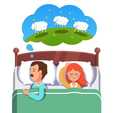 woman lying in bed: Young couple sleeping in their bed. Husband trying to fight insomnia by counting jumping sheep while his wife is peacefully slumbering. Flat style vector illustration isolated on white background.