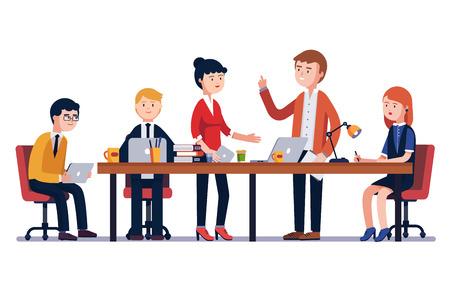 Bedrijfsmensengadering bij een groot conferentiebureau. Beginnend bedrijf. Mensen die samenwerken. Moderne kleurrijke vlakke stijl vectordieillustratie op witte achtergrond wordt geïsoleerd.