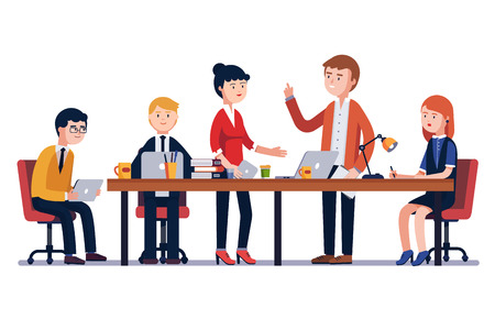 Business man meeting at a big conference desk. Startup company. People working together. Modern colorful flat style vector illustration isolated on white background. Vettoriali