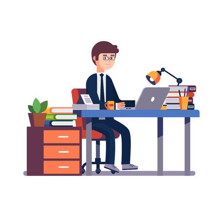 Empresario de hombre de negocios en un traje de trabajo en su escritorio de oficina. Ilustración de vector de estilo plano colorido moderno aislado sobre fondo blanco. Ilustración de vector