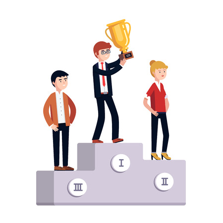 prize winner: Businessman and woman standing on a three place winner podium celebrating business achievement holding golden prize cup. Modern colorful flat style vector illustration isolated on white background.