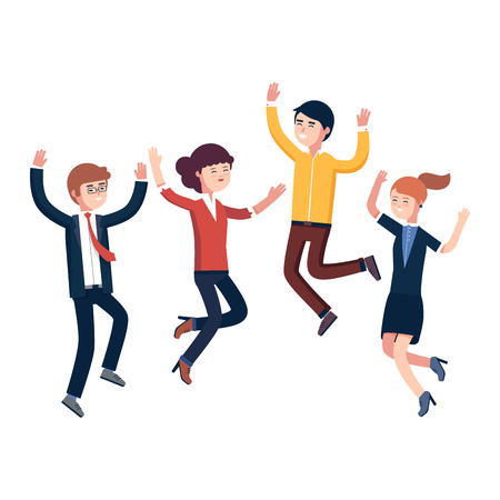 Salto feliz a la gente de negocios que celebran su éxito y logros. Hombre de negocios y mujer que celebran la victoria. ilustración vectorial de estilo plano colorido moderno aislado en el fondo blanco. Ilustración de vector