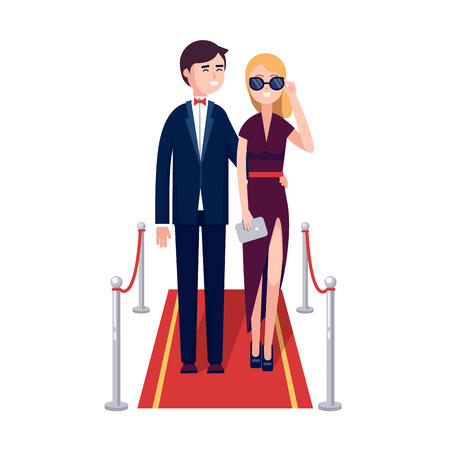 famous actor: Two rich and beautiful celebrities man and woman walking on a red carpet. Modern colorful flat style vector illustration isolated on white background.