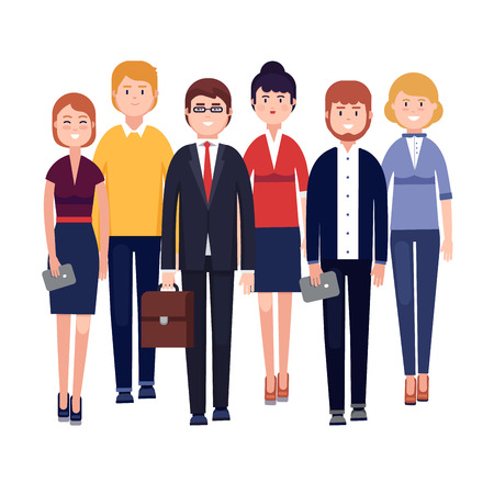 Happy business team. Smiling businessman and woman colleagues standing together next to each other. Modern colorful flat style vector illustration isolated on white background. Vectores