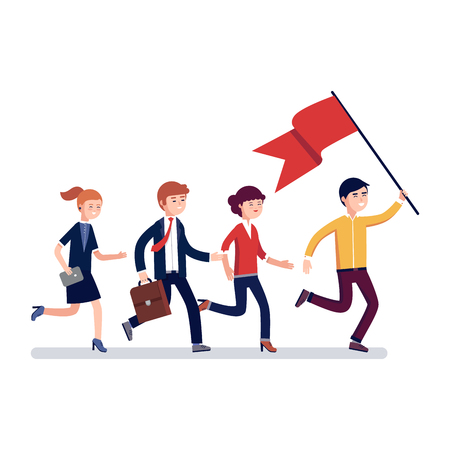 Business leader holding big flag and leading the way to his fellow colleagues businessman people. Modern colorful flat style vector illustration isolated on white background. Stock Illustratie