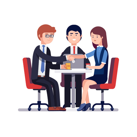 Businessman and woman handshake over round desk. Closing deal. Successful business negotiations meeting or employee job interview. Colorful flat style vector illustration isolated on white background. Çizim