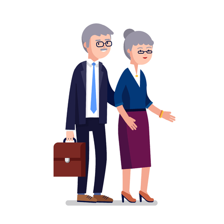 Senior age business man and woman couple. Classy dressed gray haired businessman walking with his wife. Modern colorful flat style vector illustration isolated on white background.